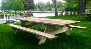 Custom made wood picnic tables